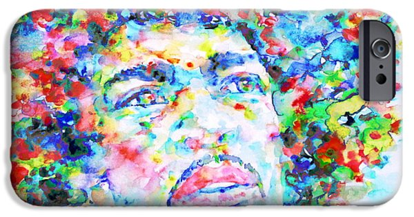 Experience Paintings iPhone Cases - JIMI HENDRIX  - watercolor portrait.3 iPhone Case by Fabrizio Cassetta
