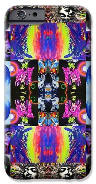 Jimi Hendrix iPhone Cases - Jimi Kaleidoscope I iPhone Case by Christian Chapman Art
