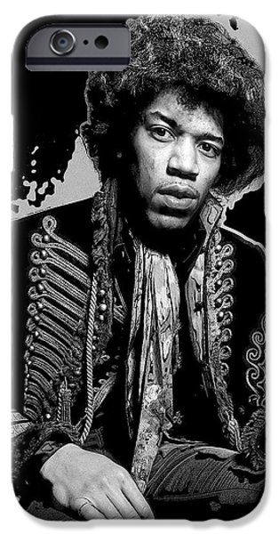 Young Digital Art iPhone Cases - Jimi Pop Art iPhone Case by Daniel Hagerman