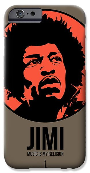 Singer Mixed Media iPhone Cases - Jimi Poster 1 iPhone Case by Naxart Studio