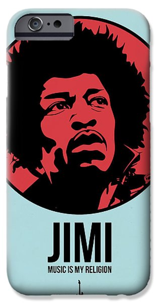 Icon Mixed Media iPhone Cases - Jimi Poster 2 iPhone Case by Naxart Studio