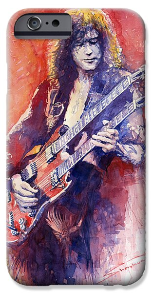Page iPhone Cases - Jimmi Page iPhone Case by Yuriy Shevchuk