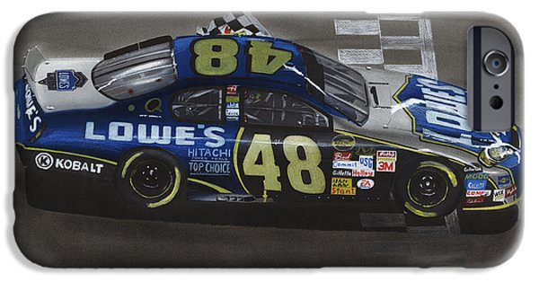 Lines Drawings iPhone Cases - Jimmie Johnson Wins iPhone Case by Paul Kuras