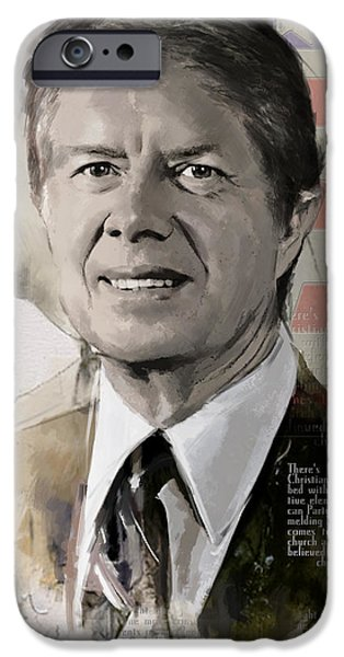 Jimmy Carter iPhone Case by Corporate Art Task Force