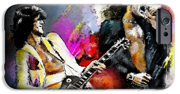 Musician Art iPhone Cases - Jimmy Page and Robert Plant Led Zeppelin iPhone Case by Miki De Goodaboom