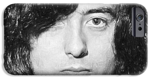 Celebrities Art Pastels iPhone Cases - Jimmy Page iPhone Case by Antony McAulay
