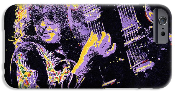 Robert Plant Paintings iPhone Cases - Jimmy Page iPhone Case by Barry Novis