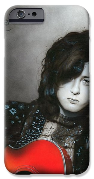 Jimmy Page Paintings iPhone Cases - Jimmy Page iPhone Case by Christian Chapman Art