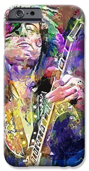 Jimmy Page iPhone Cases - Jimmy Page Electric iPhone Case by David Lloyd Glover