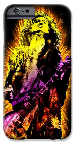 Greatest Electric Guitarist iPhone Cases - Jimmy Page iPhone Case by Michael Lee