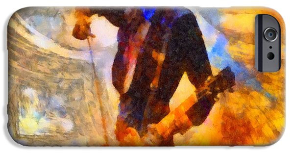 Sound Mixed Media iPhone Cases - Jimmy Page Playing Guitar With Bow iPhone Case by Dan Sproul