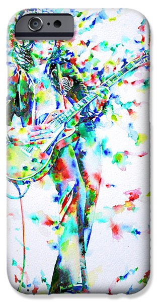 Jimmy Page Paintings iPhone Cases - JIMMY PAGE PLAYING THE GUITAR - watercolor portrait iPhone Case by Fabrizio Cassetta