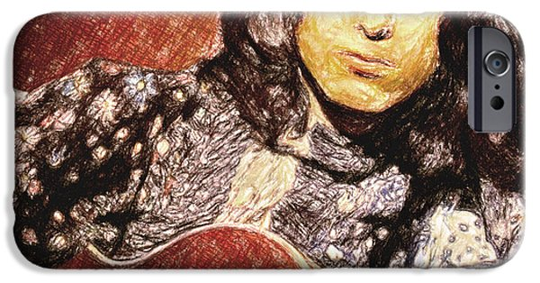 Music Drawings iPhone Cases - Jimmy Page iPhone Case by Taylan Soyturk