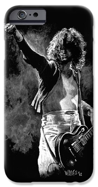 Jimmy Page Paintings iPhone Cases - Jimmy Page iPhone Case by William Walts