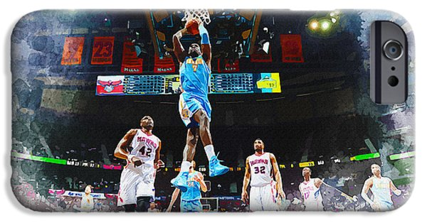 Allstar iPhone Cases - J.J. Hickson of the Denver Nuggets iPhone Case by Don Kuing