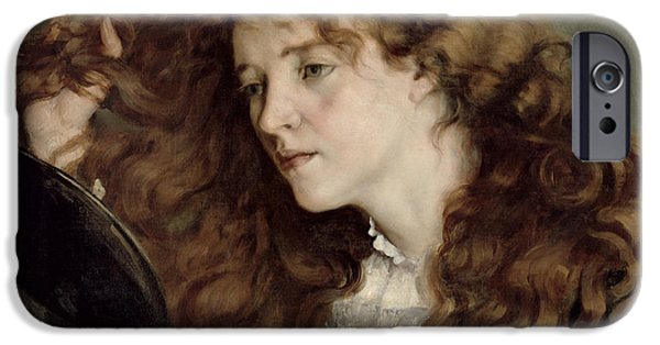 Auburn iPhone Cases - Jo the Beautiful Irish Girl iPhone Case by Gustave Courbet