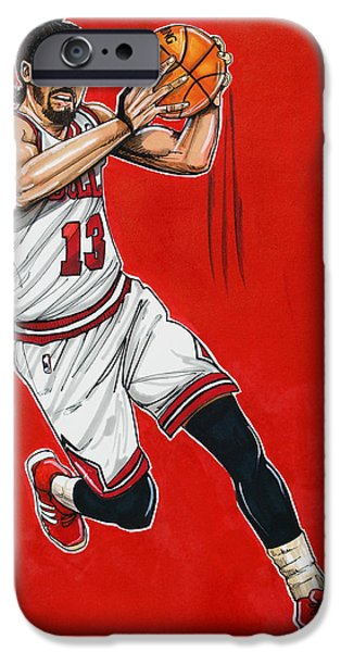 Dave Drawings iPhone Cases - Joakim Noah iPhone Case by Dave Olsen