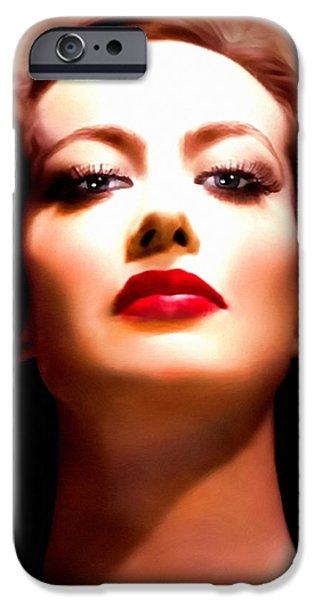 Seductive iPhone Cases - Joan Crawford iPhone Case by Georgiana Romanovna