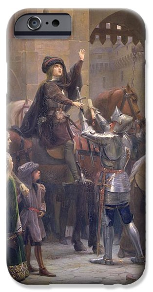Bravery iPhone Cases - Joan Of Arc 1412-31 Leaving Vaucouleurs, 23rd February 1429 Oil On Canvas iPhone Case by Jean-Jacques Scherrer