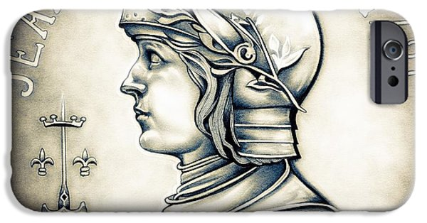 Coins Drawings iPhone Cases - Joan of Arc - Original iPhone Case by Fred Larucci