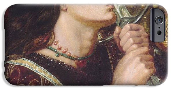 Liberation Paintings iPhone Cases - Joan of Arc Kisses the Sword of Liberation iPhone Case by Dante Gabriel Rossetti