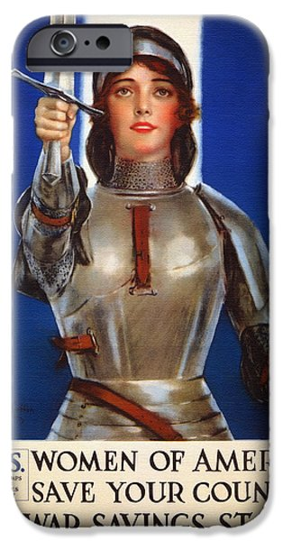 Patriotism Mixed Media iPhone Cases - Joan of Arc War Stamps Poster 1918 iPhone Case by Mountain Dreams