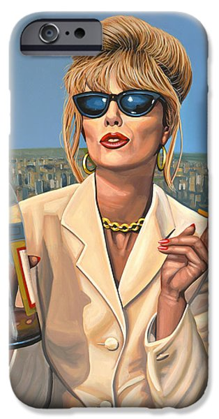 Bride iPhone Cases - Joanna Lumley as Patsy Stone iPhone Case by Paul Meijering