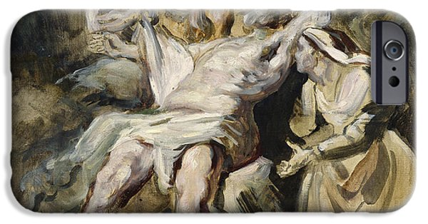 Torment iPhone Cases - Job Tormented by the Demons iPhone Case by Ferdinand Victor Eugene Delacroix