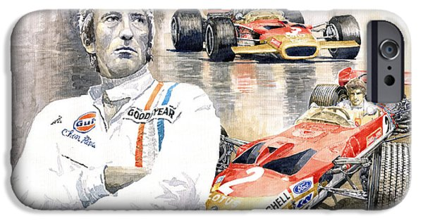 Classic Racing Car iPhone Cases - Jochen Rindt Golden Leaf Team Lotus Lotus 49b Lotus 49c iPhone Case by Yuriy  Shevchuk