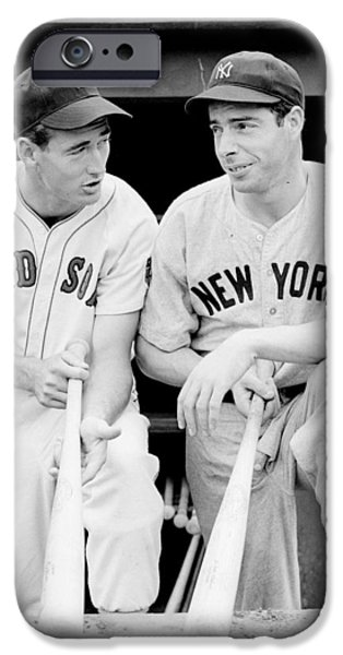 Williams Ted iPhone Cases - Joe DiMaggio and Ted Williams iPhone Case by Gianfranco Weiss