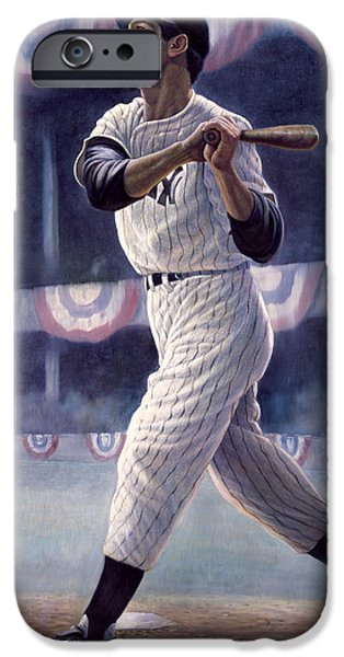 Pinstripes iPhone Cases - Joe DiMaggio iPhone Case by Gregory Perillo