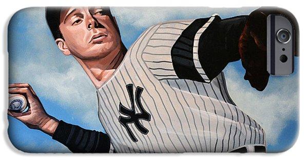 World Series Paintings iPhone Cases - Joe DiMaggio iPhone Case by Paul  Meijering