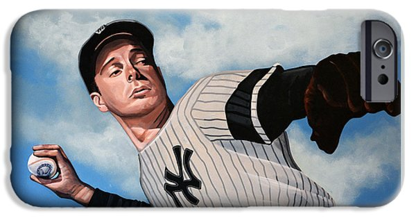 Run iPhone Cases - Joe DiMaggio iPhone Case by Paul Meijering