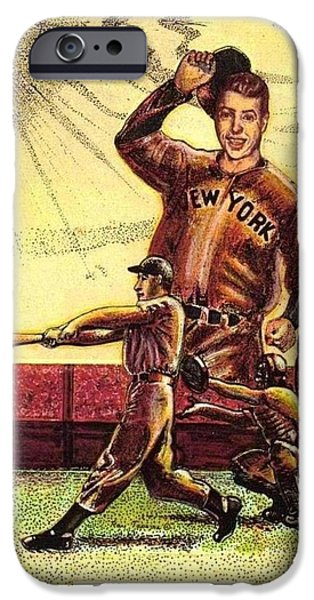 Joe DiMaggio Yankee Clipper iPhone Case by Ray Tapajna