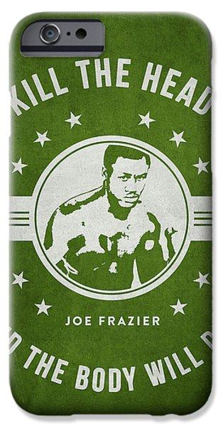Heavyweight Digital Art iPhone Cases - Joe Frazier - Green iPhone Case by Aged Pixel