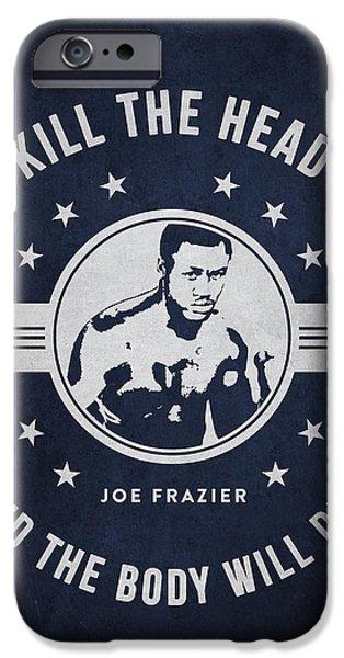 Heavyweight Digital Art iPhone Cases - Joe Frazier - Navy Blue iPhone Case by Aged Pixel