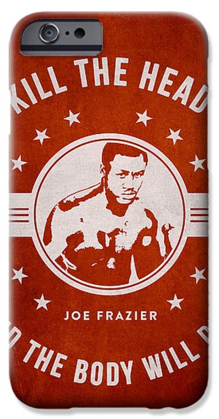 Heavyweight Digital Art iPhone Cases - Joe Frazier - Red iPhone Case by Aged Pixel