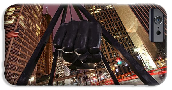 Best Sellers -  - Boxer Digital Art iPhone Cases - Joe Louis Fist Statue Detroit Michigan Night Time Shot iPhone Case by Gordon Dean II