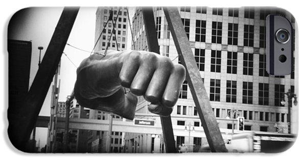 Boxer Digital iPhone Cases - Joe Louis Fist Statue in Monochrome iPhone Case by Gordon Dean II