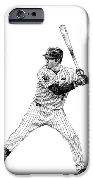 Minnesota Drawings iPhone Cases - Joe Mauer iPhone Case by Joshua Sooter