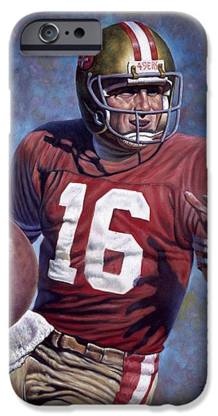 Starr iPhone Cases - Joe Montana iPhone Case by Gregory Perillo
