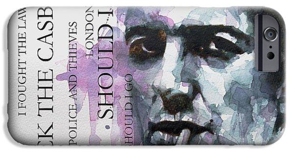Photo Paintings iPhone Cases - Joe Strummer iPhone Case by Paul Lovering