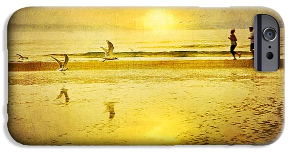 Seagull iPhone Cases - Jogging On Beach With Gulls iPhone Case by Theresa Tahara