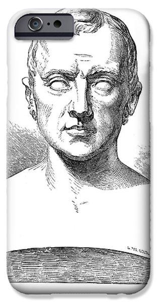 Statue Portrait iPhone Cases - Johann Kaspar Spurzheim iPhone Case by Granger