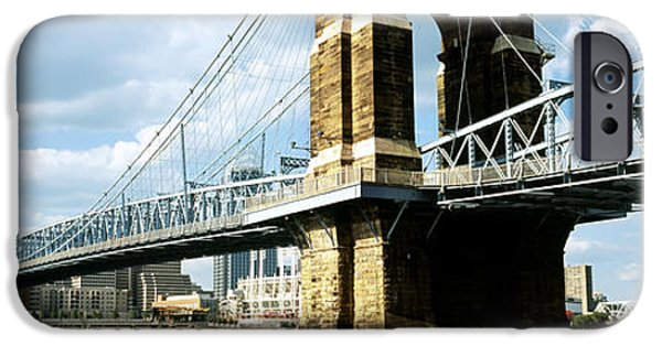 Connection iPhone Cases - John A. Roebling Suspension Bridge iPhone Case by Panoramic Images