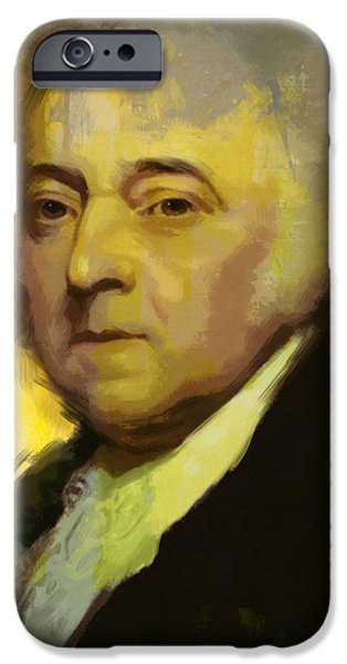 U.s Heroes iPhone Cases - John Adams iPhone Case by Corporate Art Task Force