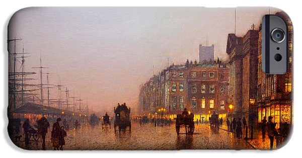 Hofner iPhone Cases - John Atkinson Grimshaw Liverpool from Wapping 1885 iPhone Case by MotionAge Designs