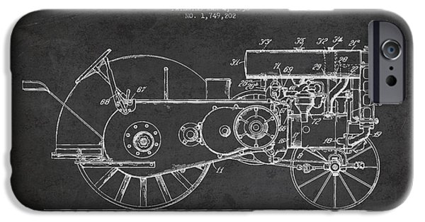 Tractors iPhone Cases - John Deer Tractor Patent drawing from 1930 - Dark iPhone Case by Aged Pixel