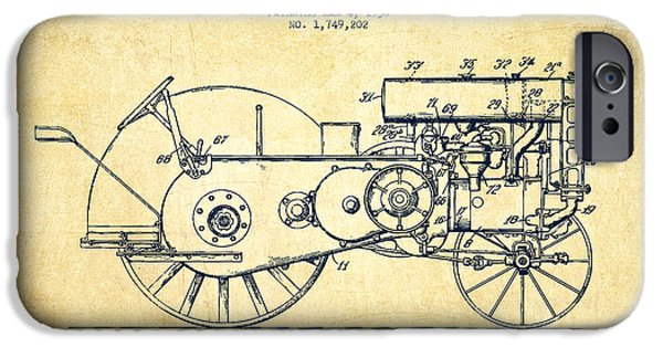 Deer Digital iPhone Cases - John Deer Tractor Patent drawing from 1930 - Vintage iPhone Case by Aged Pixel