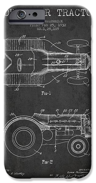 Tractors iPhone Cases - John Deer Tractor Patent drawing from 1932 - Dark iPhone Case by Aged Pixel